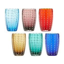 ZAFFERANO - Bicchieri acqua Perle multicolore set 6 pezzi