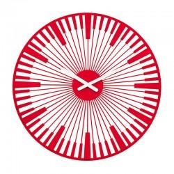 KOZIOL - Orologio da parete Piano rosso trasparente