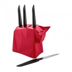 KOZIOL - Ceppo con 4 coltelli da bistecca Pablo lampone e nero