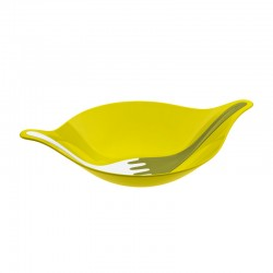 KOZIOL - Insalatiera con posate Leaf L verde senape, verde oliva e bianco