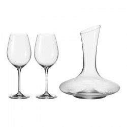 LEONARDO - Decanter con 2 calici Barcelona set 3 pezzi