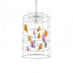 MASCAGNI - Lampadario Gabbietta con uccellini colorati
